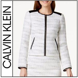 ( Calvin Klein ) Faux-Leather Trim Boucle Jacket
